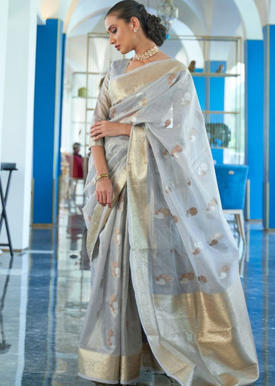 Cloudy Grey Zari Woven Organza Silk Saree