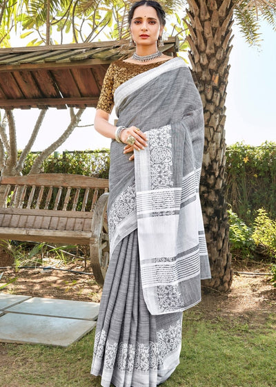 Rhino Grey Soft Cotton Linen Saree