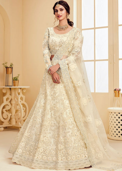 Parchment White Soft Net Lehenga Choli with Cording Embroidery & Stone work