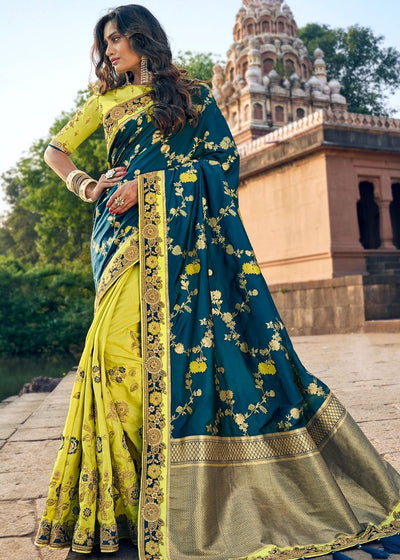 Green and Blue Half N Half Silk Saree with Heavy Border