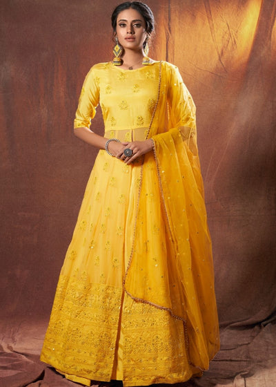 Lime Yellow Designer Georgette Lehenga Choli with Lucknowi work