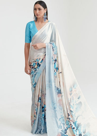 Pearl White & Blue Satin Silk Digital Printed Saree