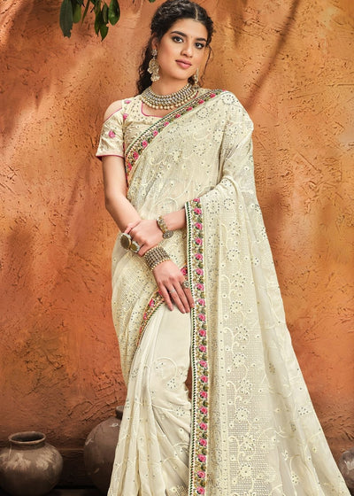 Linen White Pure Georgette Saree with Moti, Cut-Dana & Lucknowi work