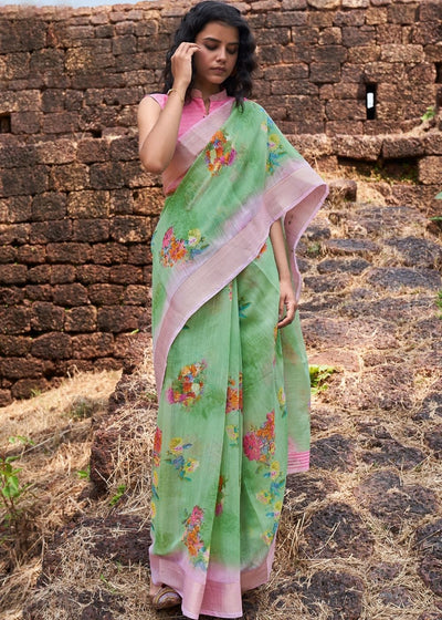 Fern Green Floral Print Cotton Linen Saree