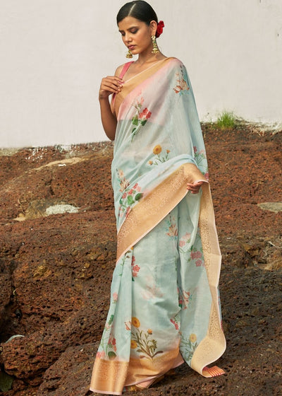 Icy Blue Floral Print Cotton-Linen Saree