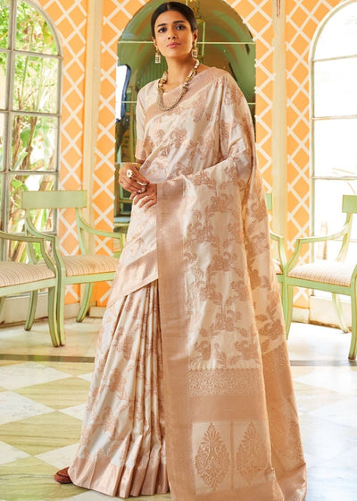 Beige Banarasi Silk Saree with Zari Weaving work