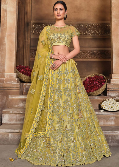 Yellow Satin Silk & Net Lehenga Choli with Zari, Resham & Swarvoski work