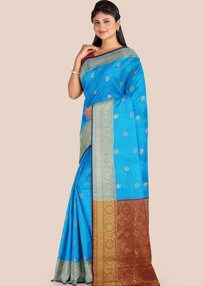 Azure Blue Woven Chanderi Cotton Silk Saree