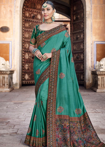Sea Green Dola Silk Saree having Kashmiri Brocade Pallu