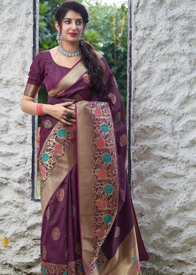 Plum Purple Silk Saree with Floral Motif Zari Border