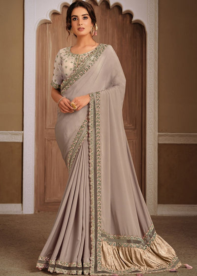 Thunder Grey Silk Georgette Designer Saree with Resham & Sequins work