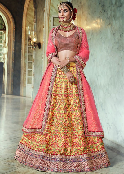 Yellow Handloom Silk Lehenga with Floral Embroidery
