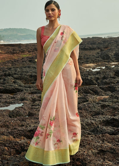 Pale Pink Floral Print Cotton-Linen Saree