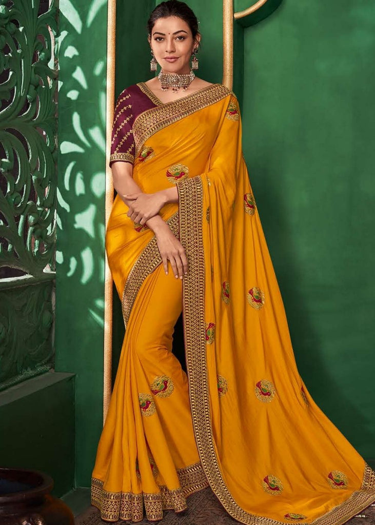 Apricot Orange Designer Silk Saree with Contrast Embroidered Blouse