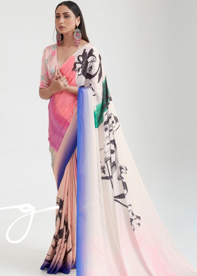 Baby Pink Satin Silk Digital Printed Saree