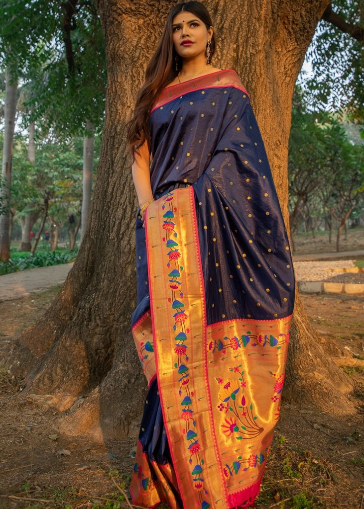 Oxford Blue Woven Paithani Silk Saree