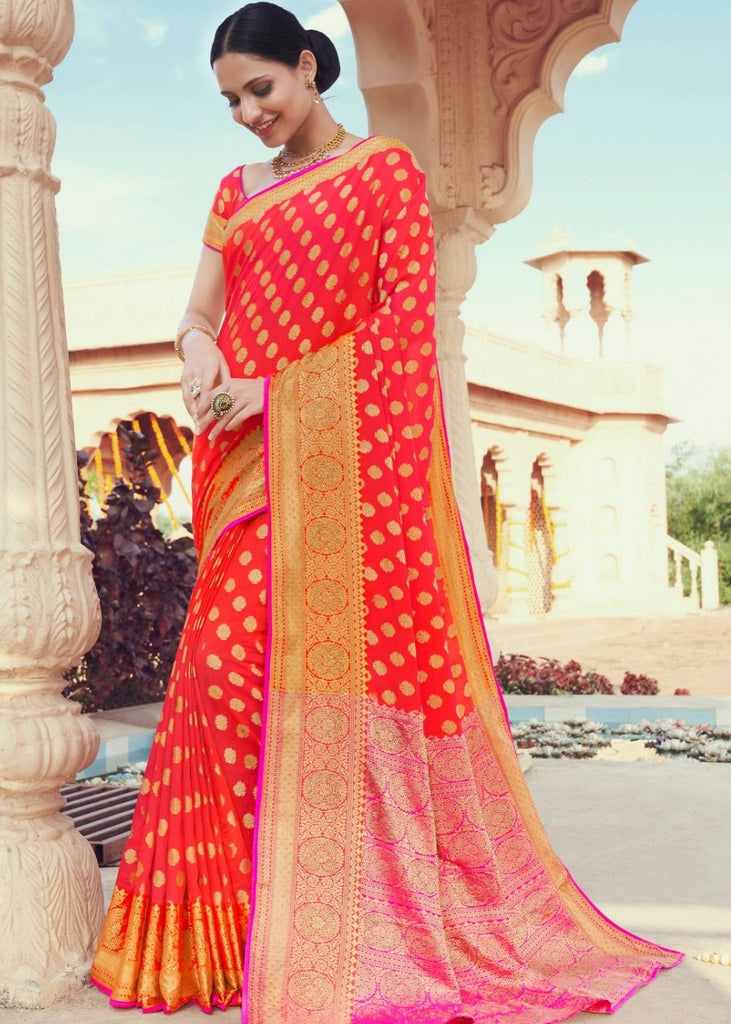 Imperial Red & Pink Zari Woven Soft Silk Saree