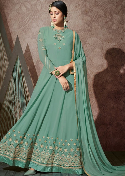 Sage Green Georgette Embroidered Anarkali Suit with Stone work
