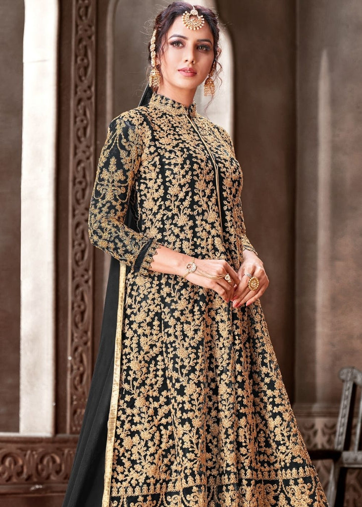 Sable Black Designer Net Anarkali Suit with Full Thread Embroidery Work