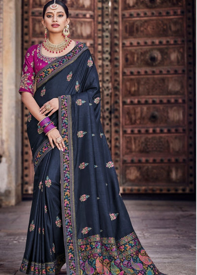 Navy Blue Dola Silk Saree having Kashmiri Brocade Pallu
