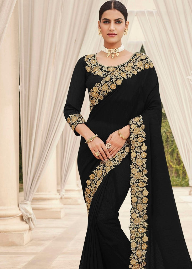 Ebony Black Designer Satin Georgette Saree with Embroidery work