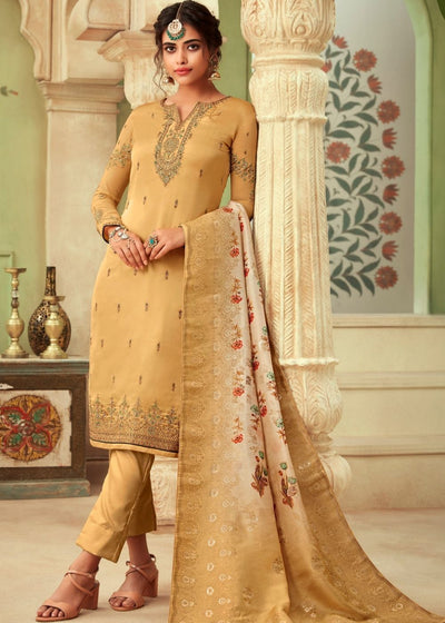 Mustard Satin Georgette Suit with Embroidery and Swarovski work