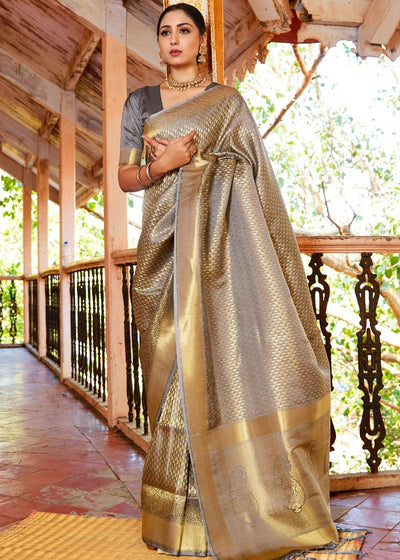 Dove Grey Zari Woven Kanjivaram Silk Saree