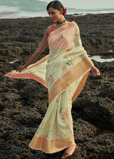 Tea Green Floral Print Cotton-Linen Saree