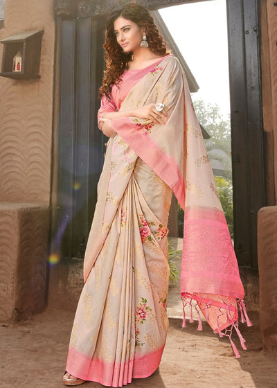 Beige Linen Silk Saree with Beautiful Floral Digital