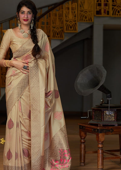 Beige Leaf Printed Silk Saree with Zari Border