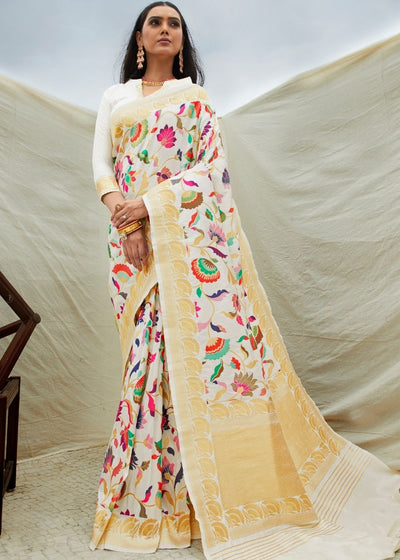 Off White Silk Floral Woven Saree