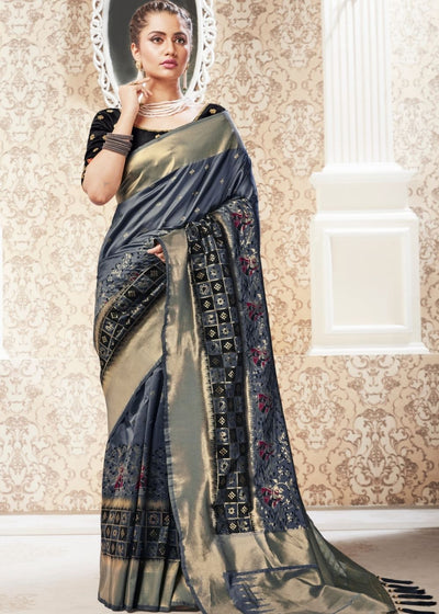 Seal Grey Woven Banarasi Silk Saree with Tassels on Pallu