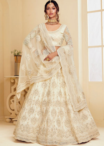 Linen White Soft Net Lehenga Choli with Cording Embroidery &  Stone work