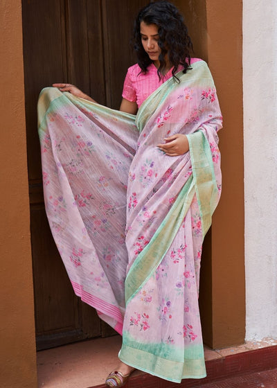 Lemonade Pink Floral Print Cotton Linen Saree