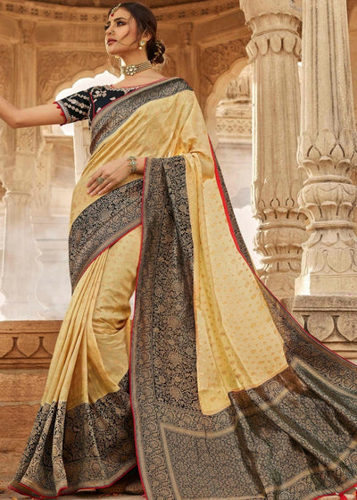 Parmesan Cream Zari Woven Banarasi Silk Saree with Designer Embroidered Blouse