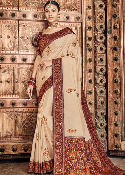 Tussar Dola Silk Saree having Kashmiri Brocade Pallu