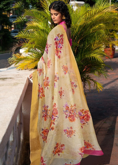 Light Yellow Floral Print Cotton-Linen Saree
