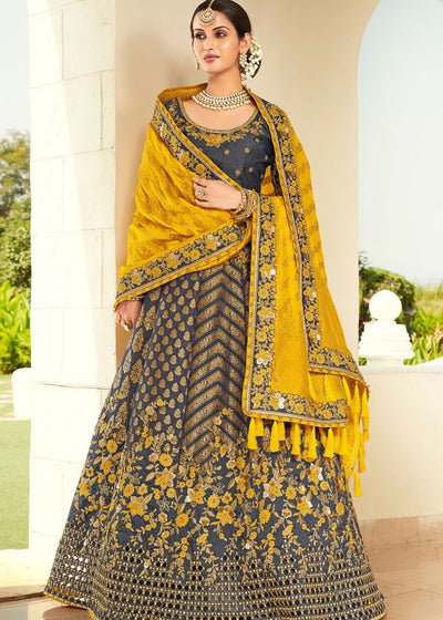 Shadow Grey & Yellow Heavy Embroidered Banarasi Silk Lehenga Choli