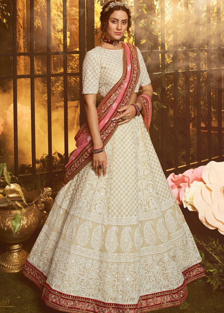Daisy White Georgette Lehenga Choli with Thread, Dori and Sequin work (Pre-Order)