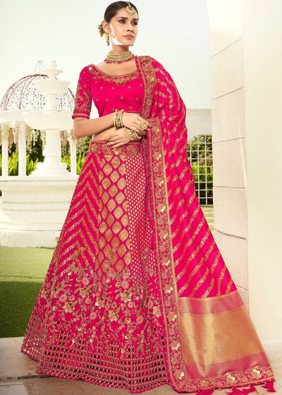 Hot Pink Heavy Embroidered Banarasi Silk Lehenga Choli