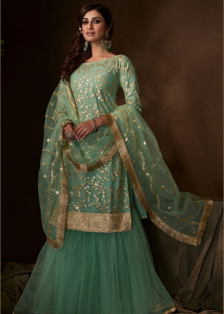 Mint Green Designer Soft Net Sharara Suit with Sequin and Zari work