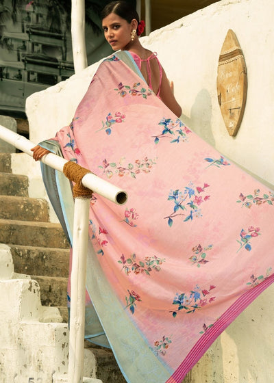 Rose Pink Floral Print Cotton-Linen Saree