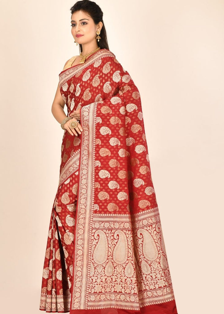 Candy Red Katan Pure Silk Hand Woven Saree