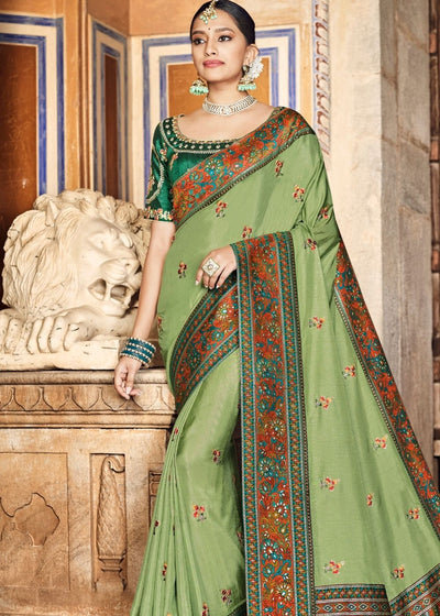 Olive Green Dola Silk Saree having Kashmiri Brocade Pallu