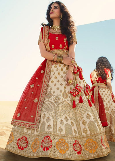 Off White & Red Art Silk Designer Lehenga with Heavy Embroidered work