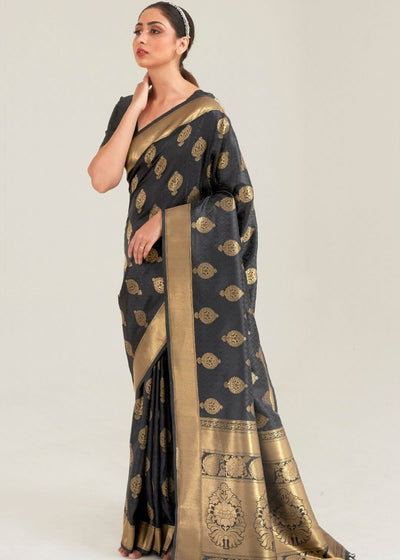 Pebble Grey Zari Butta Woven Banasari Silk Saree