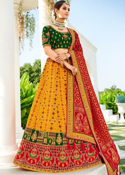 Gold Yellow Heavy Embroidered Banarasi Silk Lehenga Choli