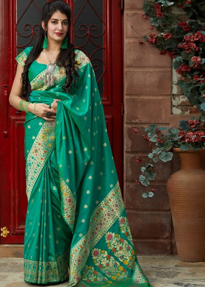 Green Silk Saree with Floral Zari Border and Buti Design