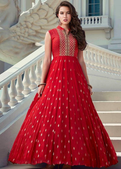 Blush Red Faux Georgette Designer Gown with Handwork Embroidery