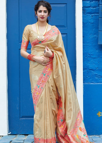 Beige Silk Saree with Floral Zari Border and Golden Buti Design